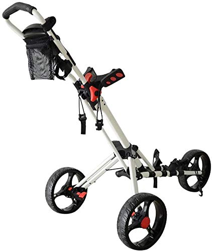 Golf Cart 3 Wheels Foldable Golf Push Cart,Easy Push and Pull Cart Trolley with Umbrella and Tee Holder, Lightweight Golf Club Push Pull Cart Trolley