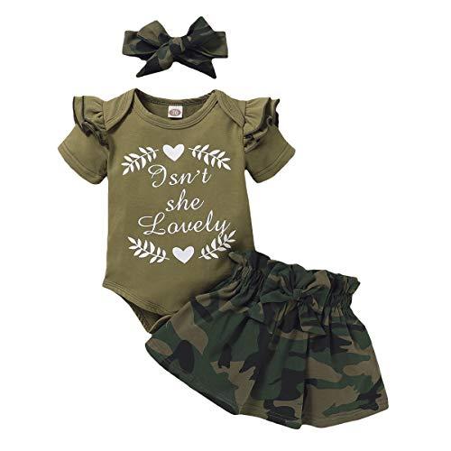 FYMNSI Conjunto de ropa para recién nacidos con estampado de letras de camuflaje y falda + diadema de 2...