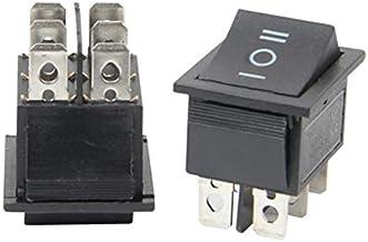 GOUWEI 2 Pcs Black Button Rocker Switch 6 Plugs Third Gear 30 * 25 * 27mm 16A 250V/ 20A 125V AC Electrical Equipment Switc...