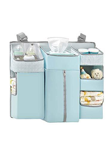 HB.YE 7 in 1 Multi-functional Nursery Crib Hanging Nappy Change Organizer,...