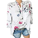 DEELIN Tops Damen Sommer Plus Size Chiffon Blumendruck Langarm Bluse Pullover Tops Shirt