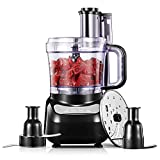 Robot de cocina, 12-Cup 4 velocidades Food Processor, picadora de alimentos con cuchilla y rallador, 3 diseños de bloqueo de seguridad
