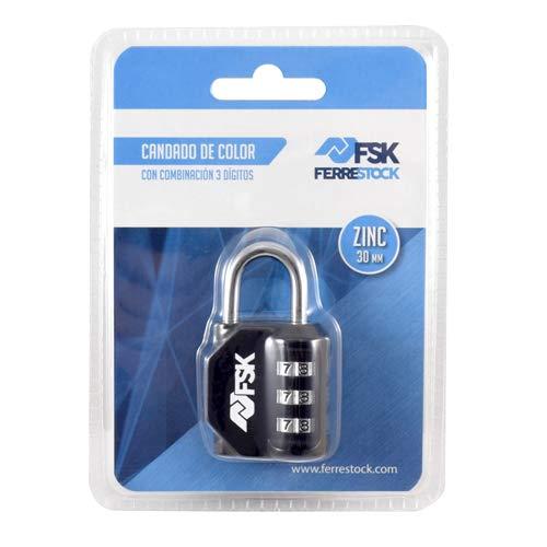 Ferrestock FSKCAN327BK Candado de combinación numérico con 3 dígitos para equipaje, taquillas de gimnasio, arco 23mm, Fabricado en zinc y arco de acero, color negro