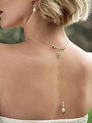 Fashband Perlas Collares en la espalda Collar con colgante de lágrima de oro Accesorios de cadena para el cuello de la boda nupcial para mujeres y niñas