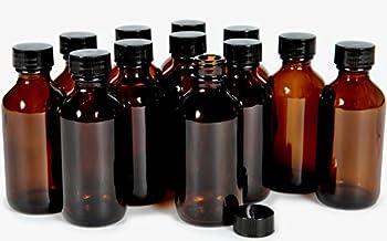 Vivaplex 12 Amber 2 oz Glass Bottles with Lids