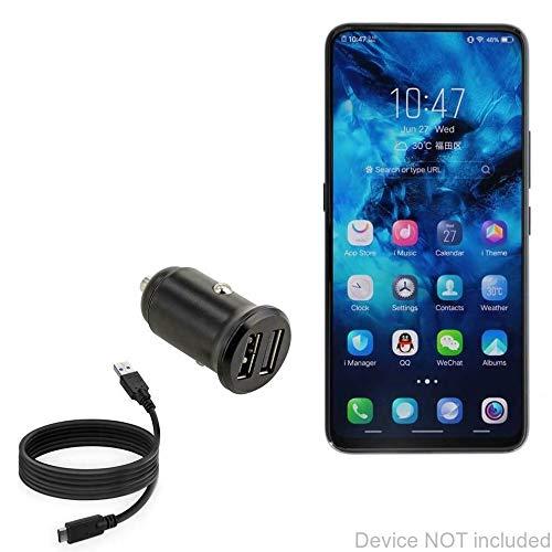 Carregador de carro Xiaomi Black Shark Helo, BoxWave [Carregador mínimo de carro com cabo DirectSync] Carregador pequeno mínimo compacto para carro duplo para Xiaomi Black Shark Helo - Preto Jet Black