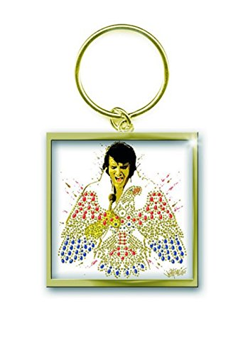 Elvis Presley Schlüsselring Keychain American Eagle offiziell Nue Gold