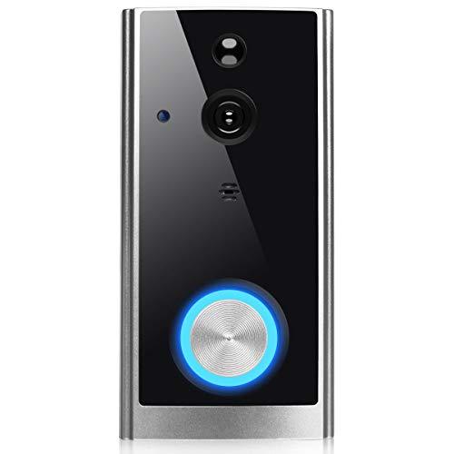 COSTWAY Videotürklinge mit Kamera, Ring Video Doorbell 1080p HD, Türklingel WiFi mit Gegensprechfunktion/Nachtsicht/PIR Bewegungssensor / 32GB Speicherkarte