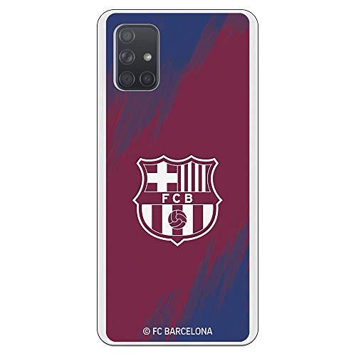 Funda para Samsung Galaxy A71 Oficial del FC Barcelona Barcelona Escudo Blanco Fondo Mancha para Proteger tu móvil. Carcasa para Samsung de Silicona Flexible con Licencia Oficial del FC Barcelona.