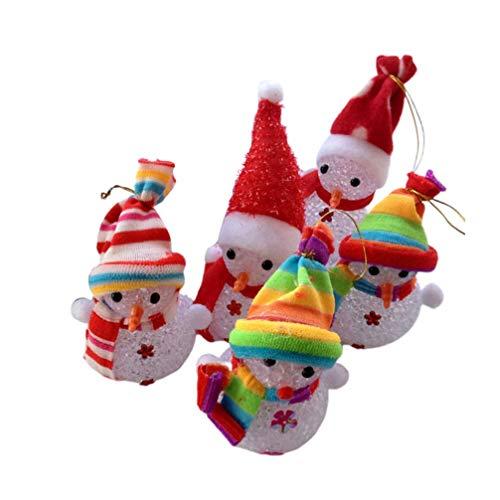 MxZas Ornamento de la luz de Escritorio 5PCS Adornos de Navidad muñeco de Nieve LED Juguetes de Navidad Decoración de Escritorio Figurita Colgante del árbol de Navidad Jzx-n