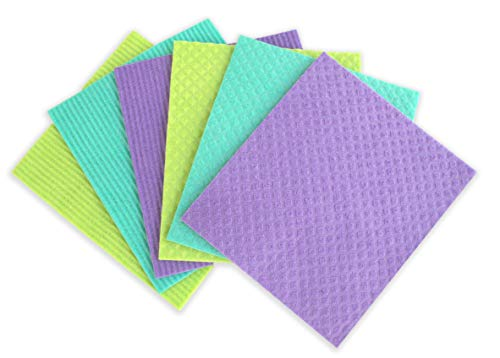 Magic Sponge Cloth by Amala, (6-Pack), 100% Natural, Reusable German Dishcloths, Highly Absorbant,...