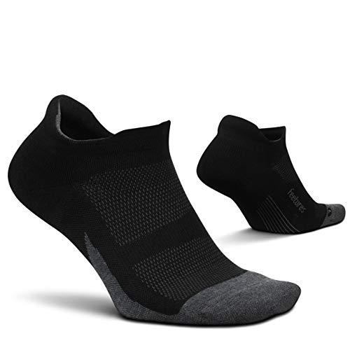 Feetures Elite Max Cushion No Show Tab Athletic Running Socks for Men and Women - Black - Size Medium