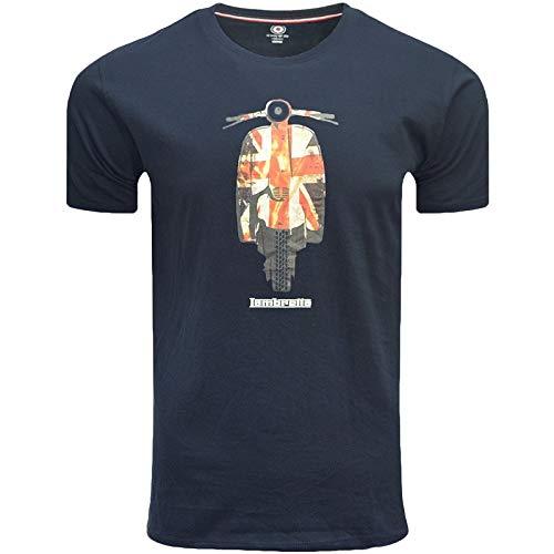 Lambretta Union Scooter tee Camiseta, Azul (Navy Navy), S para Hombre