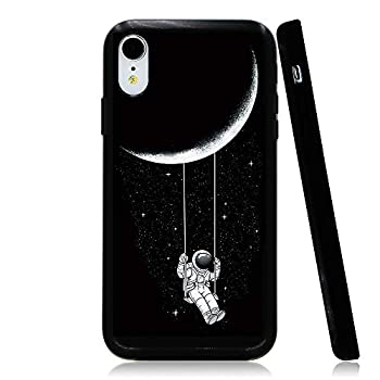 Lartin Astronaut Riding a Swing Tethered to The Moon Soft Flexible Jellybean Gel TPU Case for iPhone XR