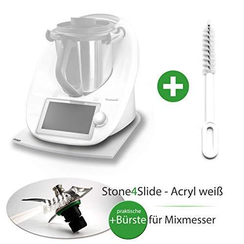Stone4Slide coolina® Gleitbrett Gleiter aus Acryl Weiß passend für Thermomix TM6 TM5 TM31 + Messer-Bürste