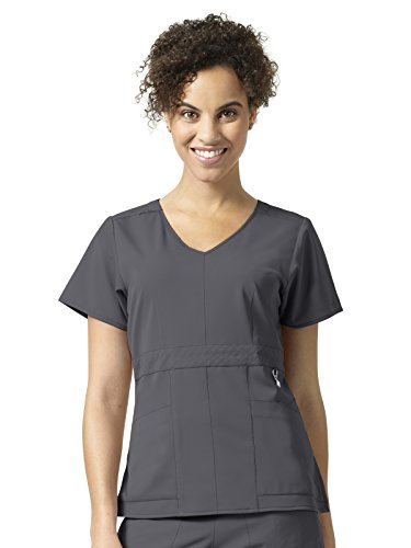 Vera Bradley Halo Collection Women's Frida Empire Waist Quilted Scrub Top- Pewter- Small