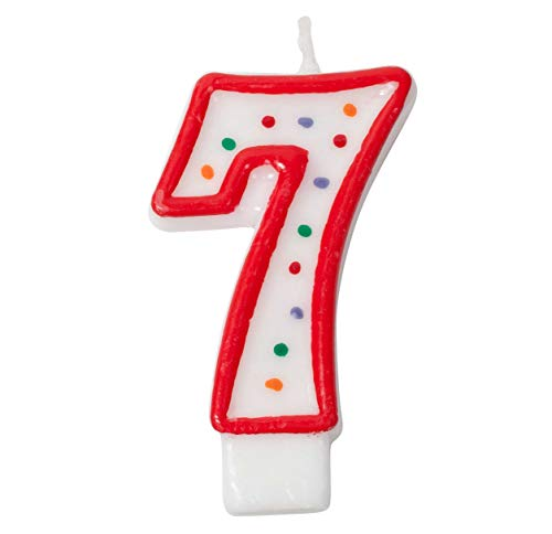 Jacent Polka Dot Number Birthday Candle Cake Topper - #7 Candle