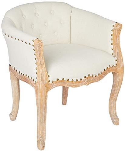 Better & Best 2991305 Butaquita tapizada capitoné en madera natural de madera y algodón