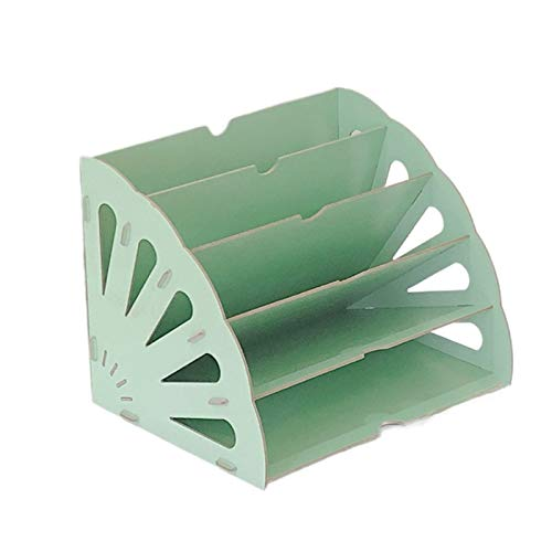 LDJ Caja de almacenamiento de escritorio de madera, con forma de ventilador, organizador de escritorio, organizador de documentos, multicapa, color verde