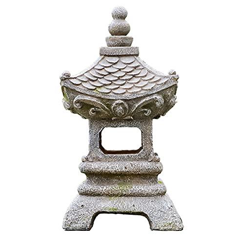 ZXCVB Miniature da giardino giapponese Zen Accessori Decorazioni per esterni, Statua da giardino con lanterna a Pagoda, Luci solari da giardino Decorativo per esterni, Decorazioni per interni