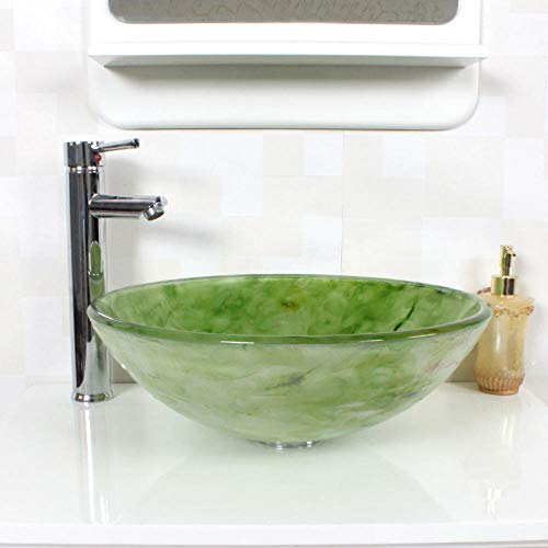 Jgophu Glaswaschbecken Waschbecken grün Badezimmerschrank mit