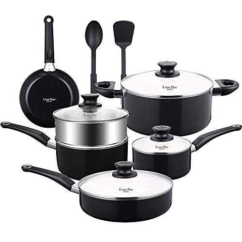 AMERICOOK 8 Piece Pots and Pans Set, White Ceramic Nonstick Cookware Set with Glass Lids and Silicone Kitchen Utensils for Cooking and Baking, Dishwasher Suitable, Black