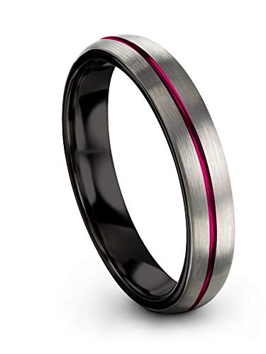 Chroma Color Collection Tungsten Carbide Wedding Band Ring 4mm for Men Women Fuchsia Center Line Black Interior with Dome Grey Exterior Brushed Polished Comfort Fit Anniversary Size 11.5