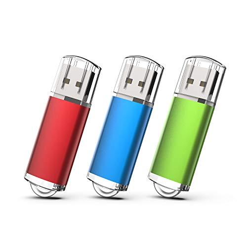 KEXIN USBメモリ・フラッシュドライブ 16GB 3個セット USB 2.0 USBメモリースティック キャップ式 データ転送 Windows PCに対応 (赤、青、緑)