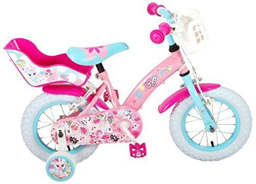 Kinderfahrrad Mädchen Fahrrad Ojo 12 Zoll mit Vorradbremse und Rücktrittbremse am Lenker Rosa 85% Zusammengebaut