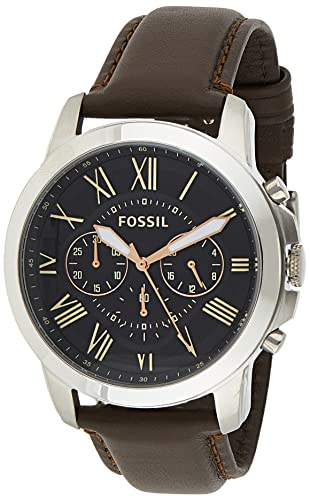 FOSSIL Grant Chronograph Leather Watch - Brown: Watches