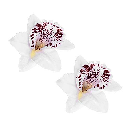 2 diademas para el pelo de playa para niñas y niñas, diseño de flores, orquídeas, accesorios de boda (2 unidades), color blanco