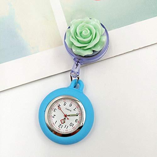 Cxypeng Uhren,Krankenschwester FOB,Niedliche Blume einziehbare Krankenschwestertabelle, Tasche Taschenuhr Geschenkbox-grün,Pulsuhr Krankenschwester