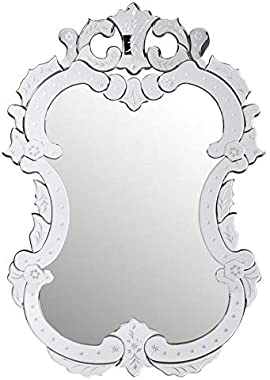 Venetian Image Decorative Wall Mirror for Living Room Entrance Makeup Bathroom | Mirror Glass Frame | Silver Small