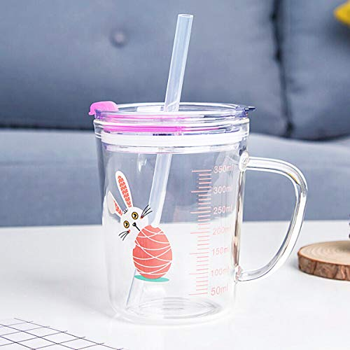 Glass Measuring Cup For Kids Heat Resistant Borosilicate Glass Stovetop & Microwave Safe Glass Water Mug with Lid& Sippy Straw For Water,Milk,Juice,Milkshake, vegetable, coffee, salad, ice cream