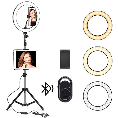 Kiaitre 10.24' Ring Light for ipad - Ring Light with Tablet Holder & Cell Phone Holder, Selfie Ring Light with Tripod Stand for Live Stream/Makeup, YouTube Video Photography