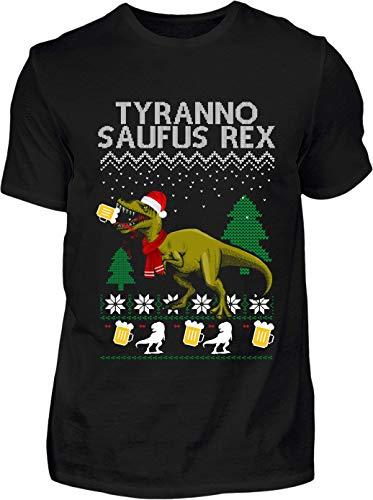 Ugly Christmas T-Shirt Herren Lustig Tyrannosaufus Rex Ugly Christmas - Kurzarm Shirt Baumwolle mit Motiv Aufdruck - Weihnachten Party Ugly Christmas Fun Saufen Bier (Schwarz, M)