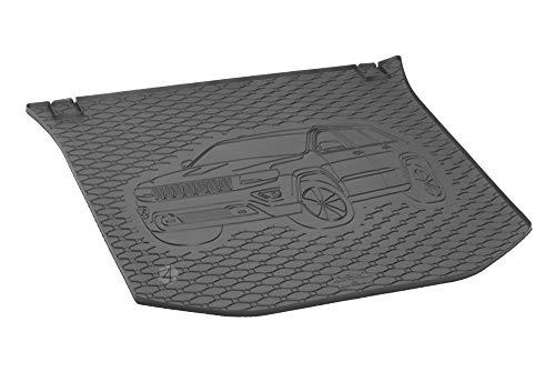 Passgenau Kofferraumwanne geeignet für Jeep Grand Cherokee ab 2014 ideal angepasst schwarz Kofferraummatte + Gurtschoner
