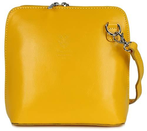 Belli ital. Ledertasche Damen Umhängetasche Handtasche Schultertasche - 17x16,5x8,5 cm (B x H x T) (Gelb)