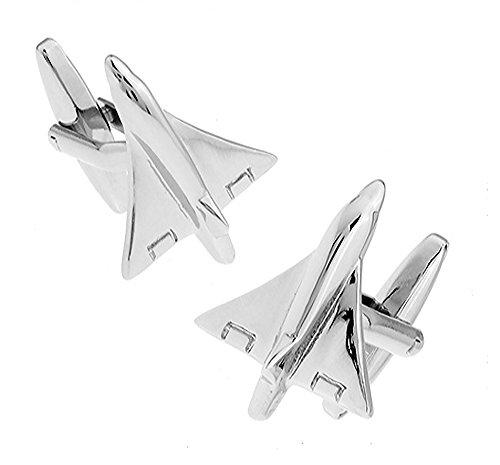 Mach 1 Flugzeug Manschettenknöpfe in einer luxuriösen Präsentationsbox. Neuheit, flugzeug, flugzeuge, Luftwaffe Thema Schmuck
