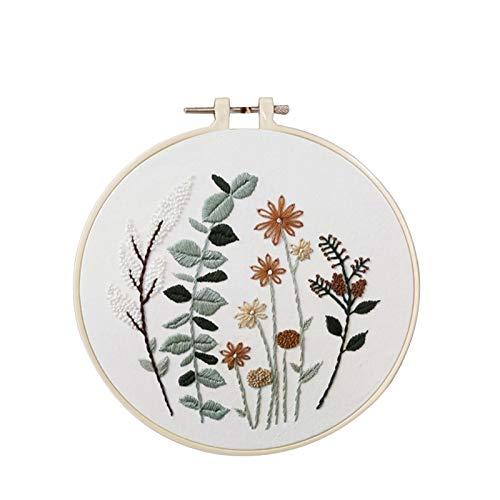 XUXI Kit de iniciación de bordado con patrón de flores de bambú bordado, hilos de color, decoración de día festivo, decoración de pared interior