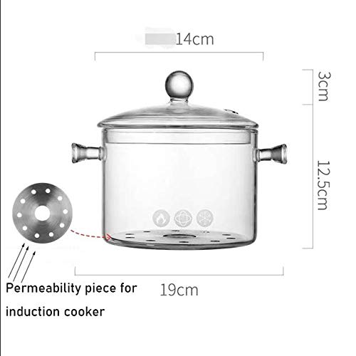 Cacerolas 1.3l Con Clip Olla De Sopa De Oreja Doble Cuenco De Ensalada Grande Cacerola Transparente Resistente Al Calor Utensilios De Cocina Vapor