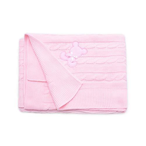PEKITAS Manta Punto Hilo Bebe 100 x 100 cm 100% Acrílico Ecológico Fabricado En Portugal Rosa