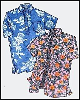 Mens Hawaiian Pullover or Button Front Placket Aloha Shirt Sewing Pattern #210