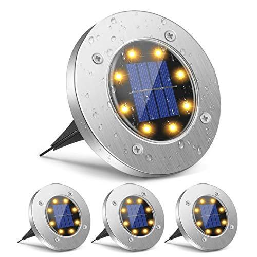 Yuanj Luce Solare per Giardino, 8 LED Luci Solari da Esterno, IP65 Impermeabile, Lampada Solari per Esterno, Cortile, Vialetto, Giardino, Bordo Piscina - 4 Pezzi