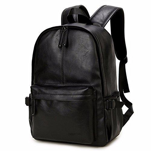 OB OURBAG Unisex Rucksack, PU Leder Rucksäcke Herren Damen Elegant Schulrucksäcke für Manner Teenager Schultasche Büchertasche Schultertasche für Reise Einkaufen Wandern (Schwarz)