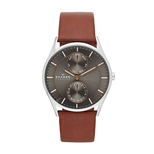 Skagen Herren Analog Quarz Uhr mit Leder Armband SKW6086