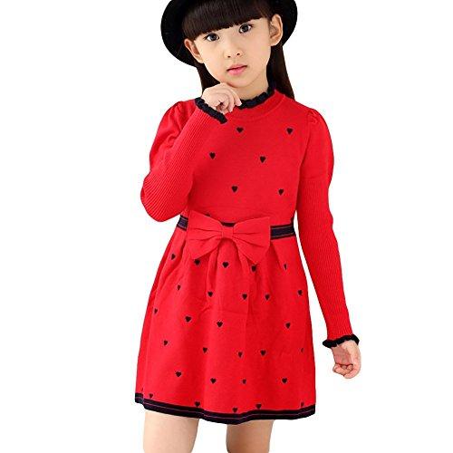 Lantra Besa Mädchen Herzchen Muster Strickkleid Pullover für Frühling, Herbst und Winter - Rot, 146