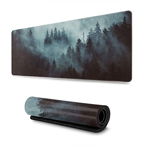Vintage Misty Landscape with Fir Forest Gaming Mouse Pad, Long Extended XL Mousepad Desk Pad, Large Non-Slip Rubber Mice Pads Stitched Edges, 31.5'' X 11.8''