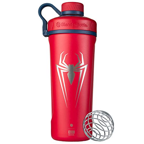 BlenderBottle Radian Insulated Stainless Steel Shaker Bottle, 26oz, Spider-Man Spider
