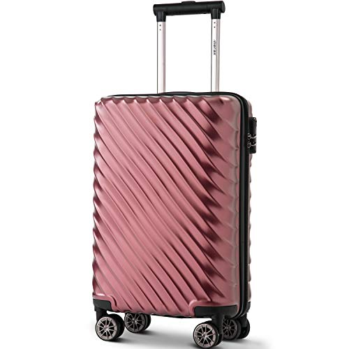Merax Hard Luggage Lightweight Spinner Suitcases 4 Wheels Spinner Durable ABS+PC Trolley Travel Case with Lock (20/24/28/Set of 3) (S-20, Wine Red)
